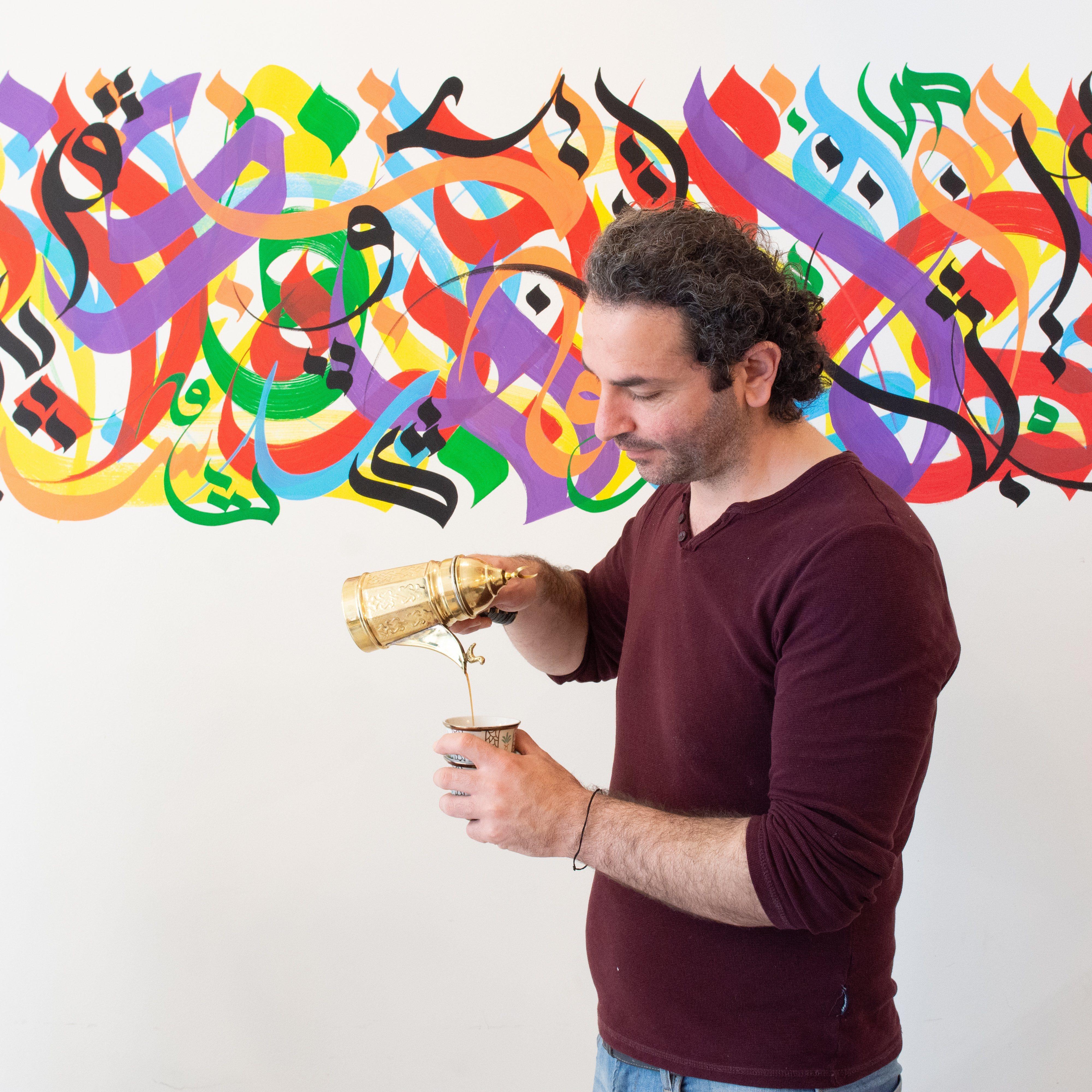 © Tine Van de Vel | Saddam Shkair serveert Syrische koffie